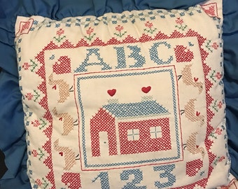 Pillow ABC Decorative Crossstitched  Folk Art Decorative Throw Pillow Country,Farmhouse