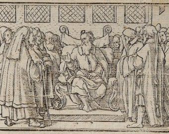 1500s Ancient POST-INCUNABLE PRINT. Hans Holbein. Ancient Bible. Circa 500 years old engraving