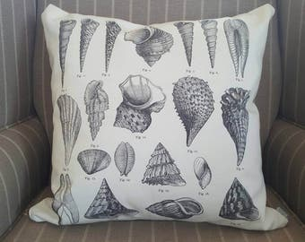 Seashell Pillow Cover / 18x18 Pillow Cover / Vintage Style Beach Seashell Pillow / Beach Cottage / Beach House