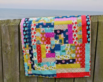 Patchwork Lap Quilt or Sofa Throw Minky Backed Cotton + Steel Fabrics