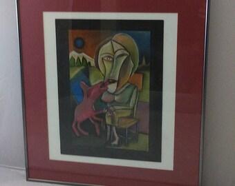 Vintage Abstract Cubist Geometric Original Art Pastel