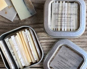 Wander + Wash Pocket Soap - single use soap slices, travel soap, camping soap