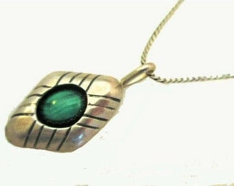 Malachite Sterling pendant necklace - 20 inch sterling Silver chain Italy