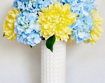 artificial flower arrangement yellow dahlias light blue hydrangea white vase silk flower