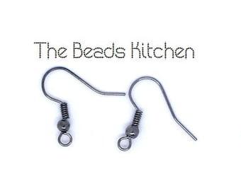 Gunmetal Black Gray Fish Hook Hypoallergenic Ear Wires for Pierced Ears *Bulk Discount* 5 Pairs 10pcs 10 Pairs 20pcs  20 pairs 40pcs
