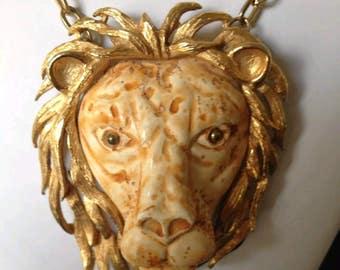 Razza large lion head necklace