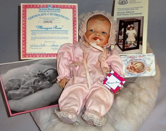 """Precious """"Meagan Rose"""" Porcelain Baby Doll on Cloud Pillow by Yolanda Bello and Ashton-Drake with Papers and Box"""