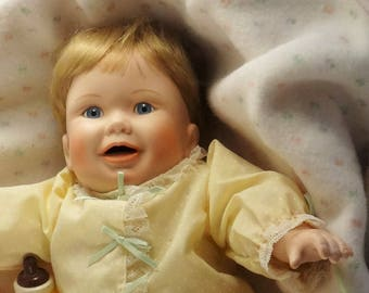 Playful Playing Footsie Porcelain Baby Doll by The Danbury Mint
