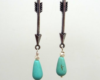 Arrow Earrings Turquoise Blue Howlite Antique Silver Plated Leverbacks