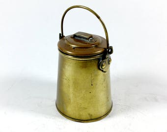 Mini brass milk churn, Pot with lid and handle, Miniature brass pail