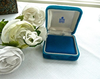 Jewelry Box - Vintage - Birks - Ring Box - Blue Velvet Box - Necklace Box - Storage Jewelry Box - Gift Box - Presentation Box