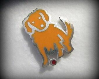 Vintage A&J HARVEY/Mexico Enamel DOG Brooch -- 5.6 grams, Golden Retriever?, Excellent Condition