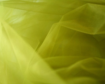 "Olive Green Tulle Fabric 56"" Wide Per Yard"