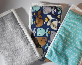 Navy and Nautical Set of Burp Cloths