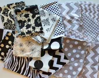 Quilting Scrap Fabric Pack -  Quilter's Cotton - Black, White, Cream, Gray, Grey