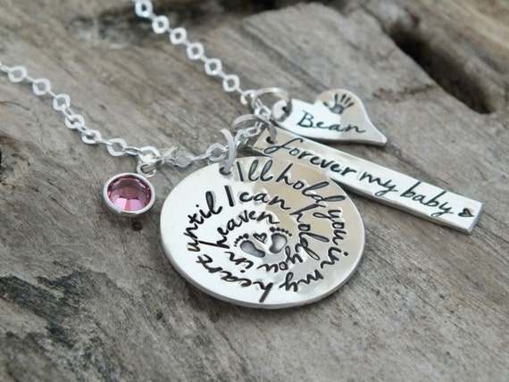 Baby Loss Necklace / Forever My Baby / Sterling Silver Personalized Necklace / Hand Stamped