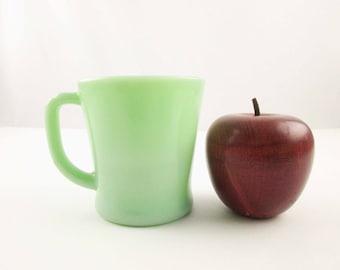 Fireking Jadeite 'Standard' Square Handle Mug - Green Milk Glass Coffee Mug - Popular  - Restaurant  - Collectible Fire King Jadeite Mug