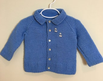 60s Baby Girl Sky Blue Acrylic Cardigan Sweater with Kitten Appliques, 6 to 12 months