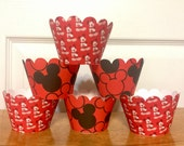 Clearance: Ready to ship 12 Mickey Mouse Cupcake Wrappers