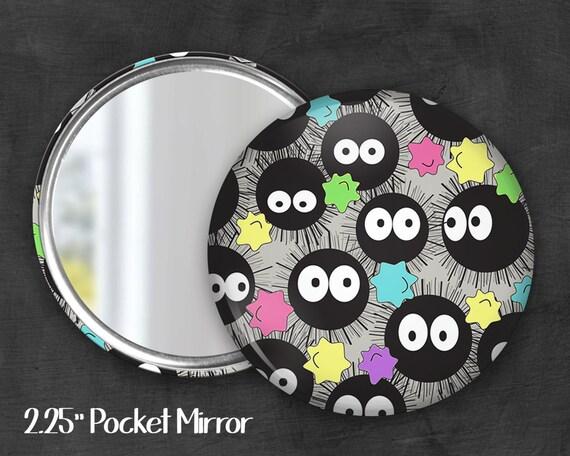 "2.25"" Soot Sprite Pocket Mirror, Geek Pocket Mirror, Geekery, Mirror Button,  Kawaii Mirror, Pocket Mirror, Fanart, Fandom"