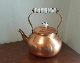 Copper & Porcelain Kettle