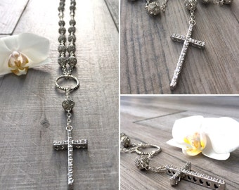 Fancy rhinestone rosary. Sterling silver and metal.