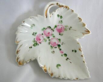 Small Leaf Shaped LIMOGES Candy Trinket Dish | Marked Limoges France | Vintage Mid Century