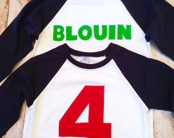 Custom boys birthday shirt Personalized Add NAME -Monogram, Nickname, Initials, letters Baseball Shirt top 100 boys girls baby names party