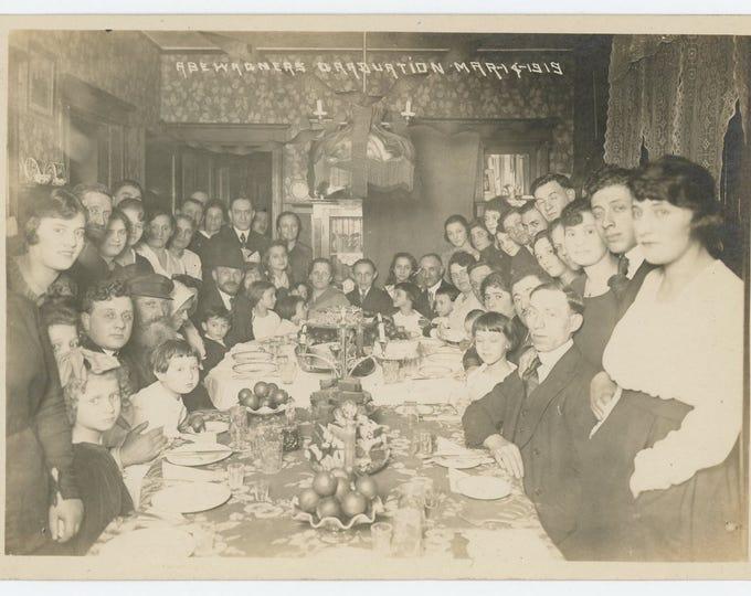 Abe Warner's Graduation Party, March 14, 1919: 5x7 Vintage Snapshot Photo (73558)