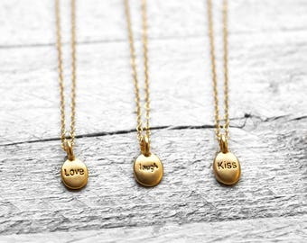 TINY LOVE necklace with stamped plaque | gold