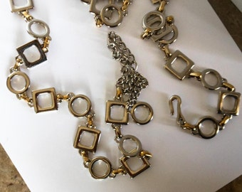 Vintage X and O Necklace   37-46  Inch   Silver Tone and Gold Tone      Hugs & Kisses