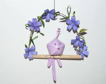 Lilac baby bird on a floral swing, nursery decor, hanging baby mobile