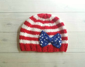 July 4th Baby Hat, Baby Flag Hat, Knit Baby Patriotic Hat, Fourth of July Baby Hat, Red White and Blue Hat, Cotton Baby Hat, memorial day