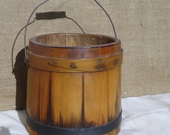 antique firkin, wood bucket, measure, primitive home, wood firkin, sugar bucket, colinial home pantry storage