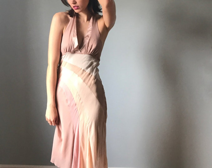Nude Silk Halter Dress