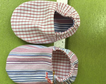Newborn reversible baby booties - red, white and blue