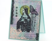 Mixed Media card, Hope, Nun, Saint Matilda, Vintage Inspired Collage note card, Turquoise, religious greeting card
