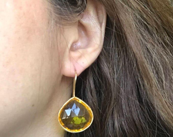Yellow Quartz Earrings- Yellow Dangle Earring- Gemstone Earring- Stone Earring- Sterling Silver Earring- Earring- Gifts for Her