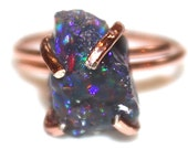 Raw Opal Ring Rose Gold Ring Raw Opal Ring Freeform Ring Black Opal Jewelry Pink Gold Blue Opal Black Opal Bright Ring Flashy Opal Ring