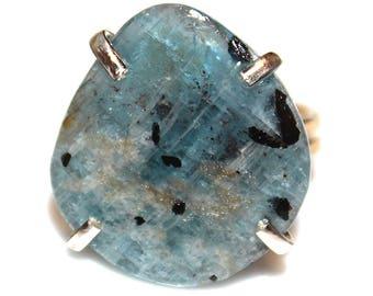 Blue Kyanite Slice Ring Kyanite Ring Gold Vermeil Ring Adjustable Ring Blue Ring Kyanite Jewelry Slice Ring Raw Stone Ring Delicate Ring