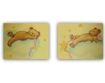 Bears Nursery Decor, Teddy Bears Wall Art, Baby Nursery Art, Bears Baby room, Art for nursery, Teddy bears Nursery art, Baby room wall art