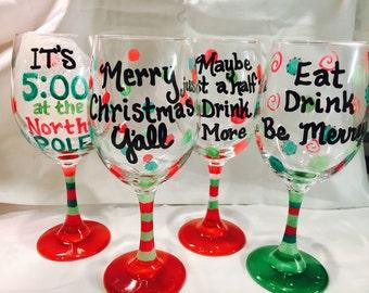 Christmas Glass, Wine Glass, Hand Painted, Holiday Glass, Santa's Little Helper Wine Glass