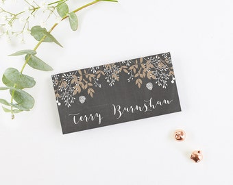 Chalkboard & Kraft Winter Stag Folded Place Card (Chalkboard Background)