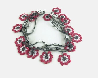 Light Pink Crochet Floral Necklace, Gift for Her, Crochet Necklace, Infinity Necklace, Crochet Jewelry, Floral Necklace, Gift for Mom,
