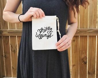 """Pretty Things / Mini Drawstring Bag / Hand Painted / Calligraphy / 5.5"""" X 7.25"""" Canvas Mini Drawstring"""