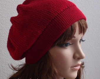 Red beret, knit beret, women's hat, handmade knitted hat for women, fashion beret, knitted from lambswool and acrylic blend , many colours