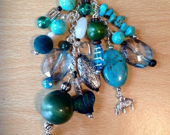 Journal & Bag Charm Beaded Cluster Dangle Teal,Turquiose