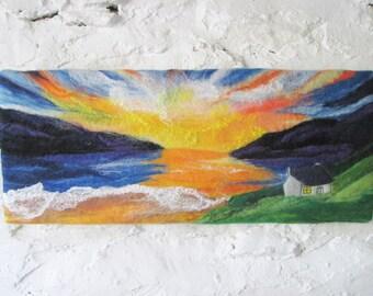 fibre art , wet felted wall art, sunset at sea