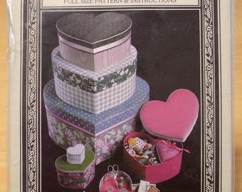 Free shipping! Fabric covered boxes pattern 6 sizes of hearts Within My Heart. No sewing. UNCUT