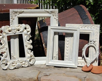 FARMHOUSE Vintage Collection - Shabby Chic Frame Set - Ornate Picture Frames - Set Of 5 Distressed Frames